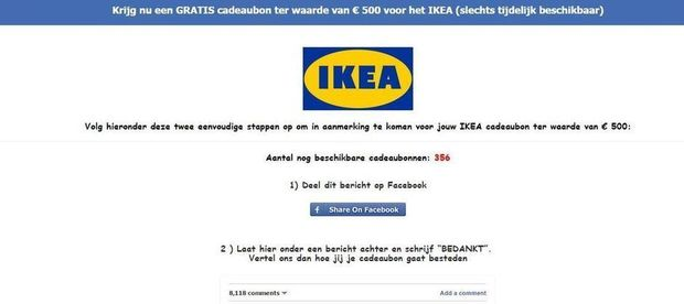 m fiez vous des 39 bons ikea gratuits 39 sur facebook ict actualit data news. Black Bedroom Furniture Sets. Home Design Ideas