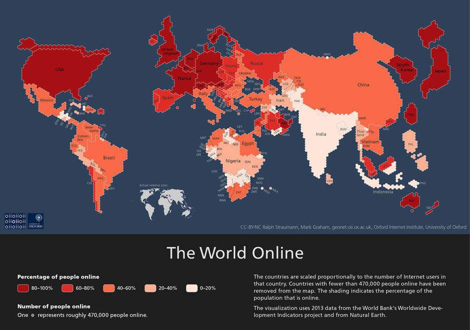 Voici la carte de la population internet mondiale